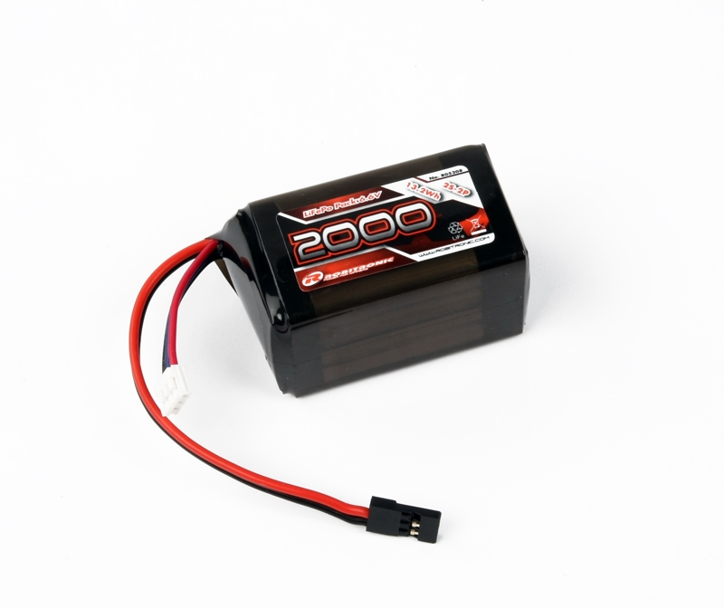 R05208 Robitronic Pacco batteria LiFe 6,6V 2000mAh, 2/3A Hump Size RX pack (EH)