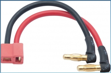 65834 LRP LiPo Hardcase adapter wire - 4mm male plug to US-style