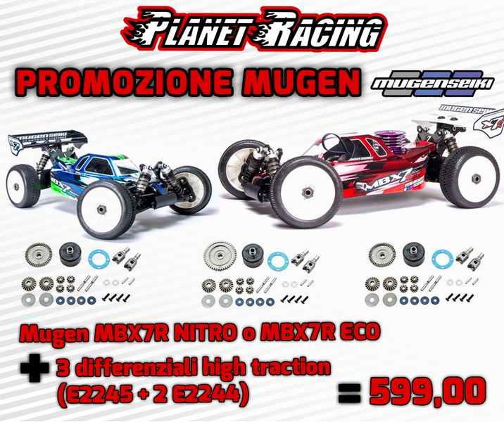 E2106 Mugen MBX7R ECO 1/8 elettrica PROMO + 3 differenziali High Traction (E2245 + 2 E2244)