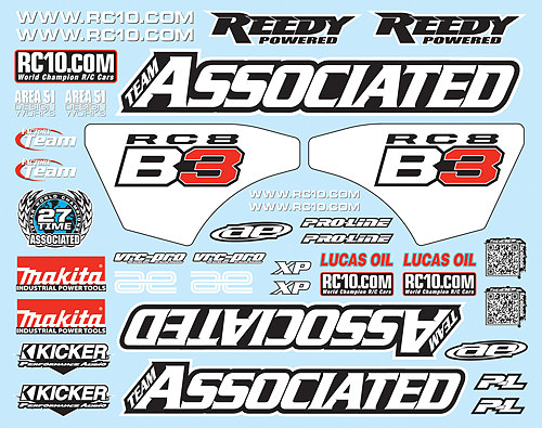 81270 Team Associated RC8B3 Decal Sheet