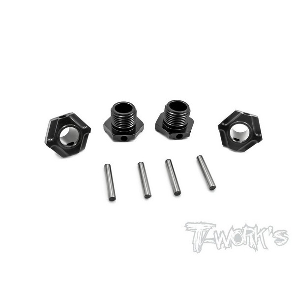TO-245-M T-WORKS Black Hard Coated 7075-T6 Alum.Light Weight Wheel Hub ( For Mugen MBX6/7/7R/MGT7/MBX8 ) 4pcs.