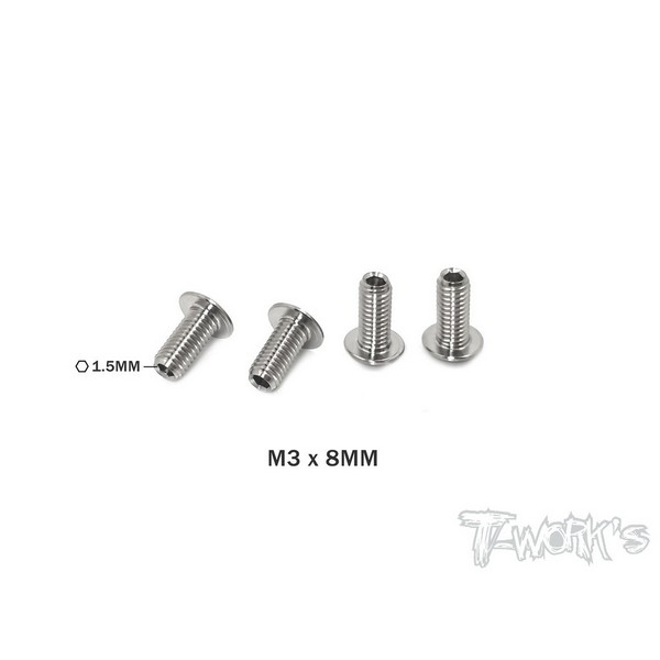 TP-087-C T-WORKS 64 Titanium Down Stop Screws ( M3 x 8mm ) 4pcs.