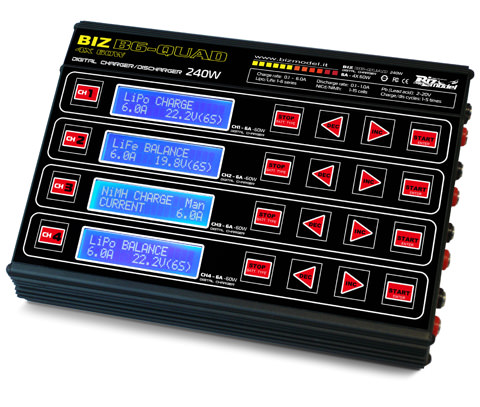 BIZB6-QUAD BizModel Charger 240W (60Wx4) 12V 6A 6 Cell - 4 x Bal