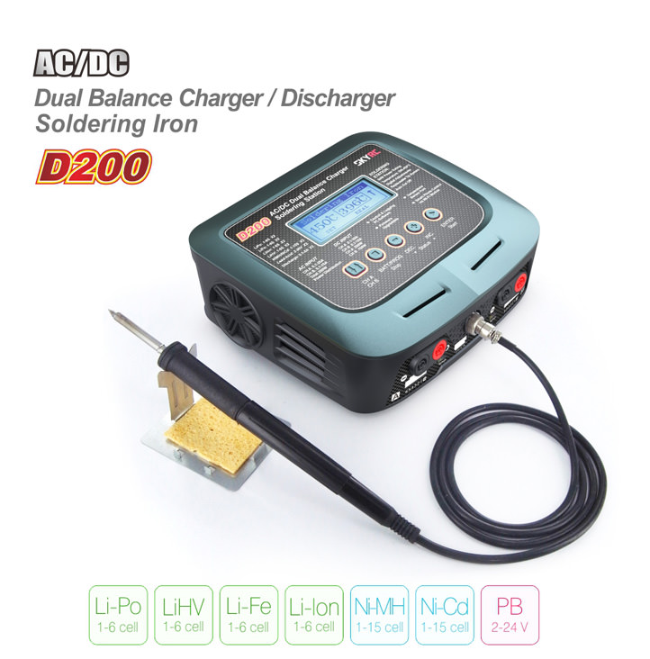 SK-100097-03 SKY-RC D200 Dual Balance Charger-Discharger AC-DC Soldering Station